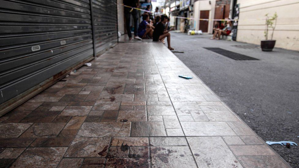 Bloodstains on a pavement in Hua Hin, Thailand, 12 August