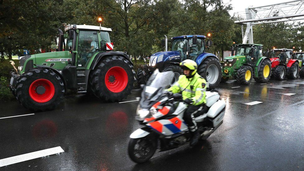 Farmers protest with their tractors during a national protest at the Malieveld in The Hague on 1 October