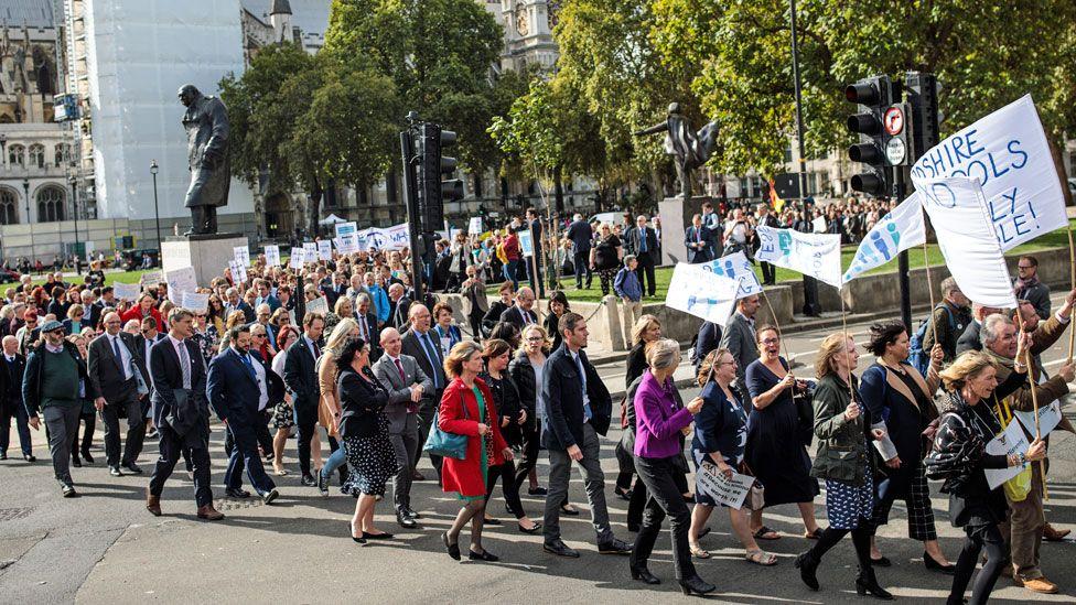 Head teachers protesting