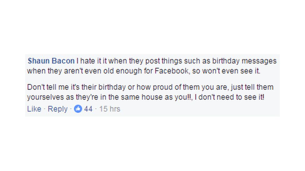 Shaun Bacon Facebook comment