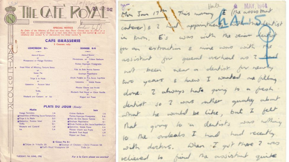 A Cafe Royal menu from 1942 and diary entry from 1944