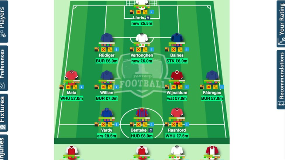 Screenshot of fantasy football auction game