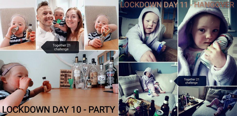 Two collages, one of Luna partying, the other of her pretending to have a hangover