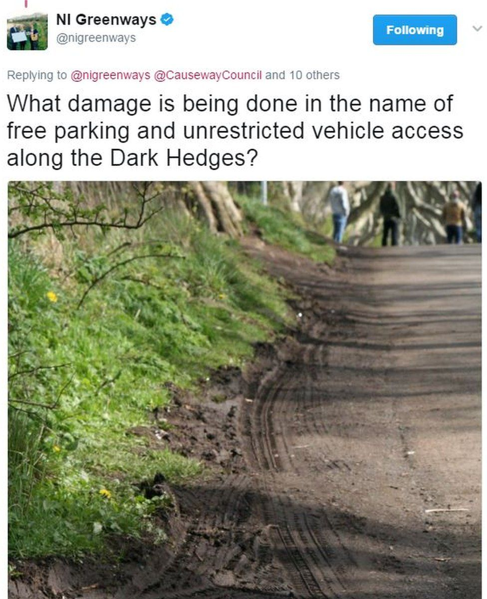 Tweet: What damage is being done in the name of free parking and unrestricted vehicle access along the Dark Hedges?