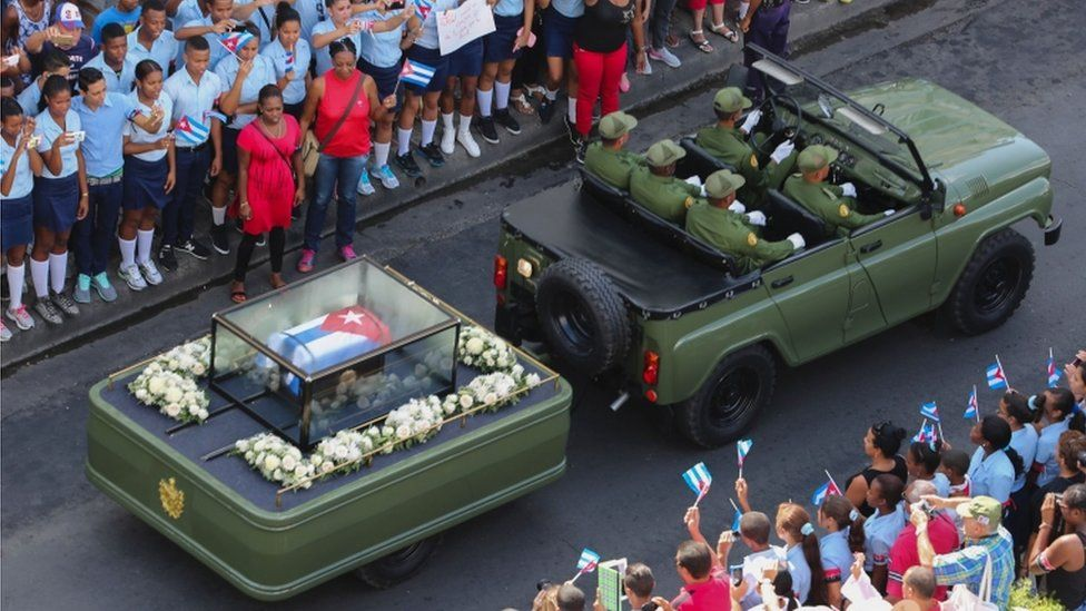 The ashes of Cuban leader Fidel Castro upon arrival in Santiago, Cuba,