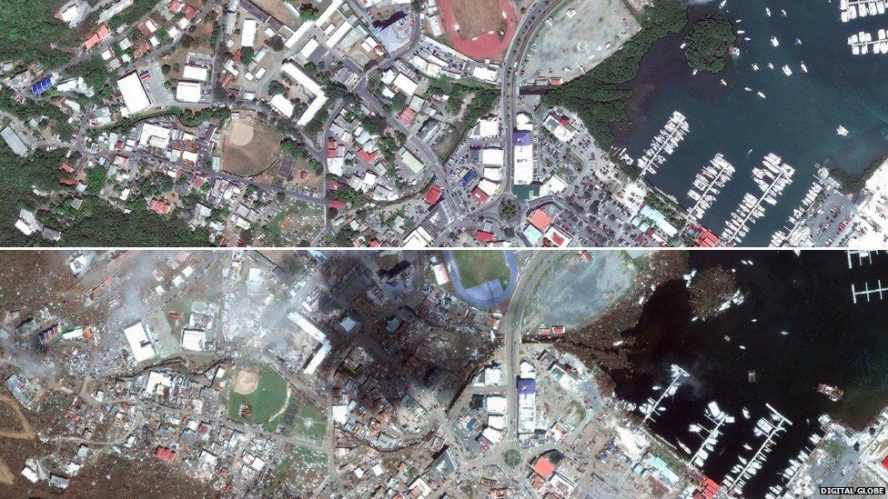 Comp of Road Town, Tortola before and after Irma