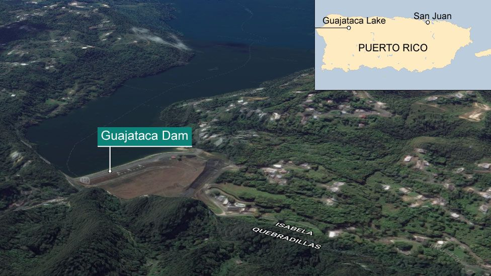 A 3D render from Google earth showing Guajataca dam. Inset, top right, is map of Puerto Rico showing the considerable distance from San Juan to the region - almost on opposite sides of the country