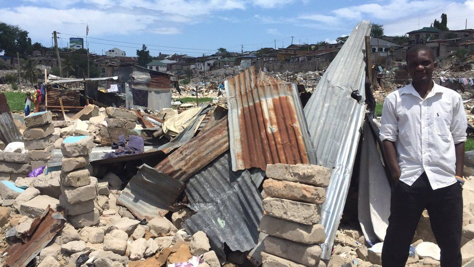 Businessman Abdallah Chibuga at the site of his demolished home in Dar es Salaam in Tanzania