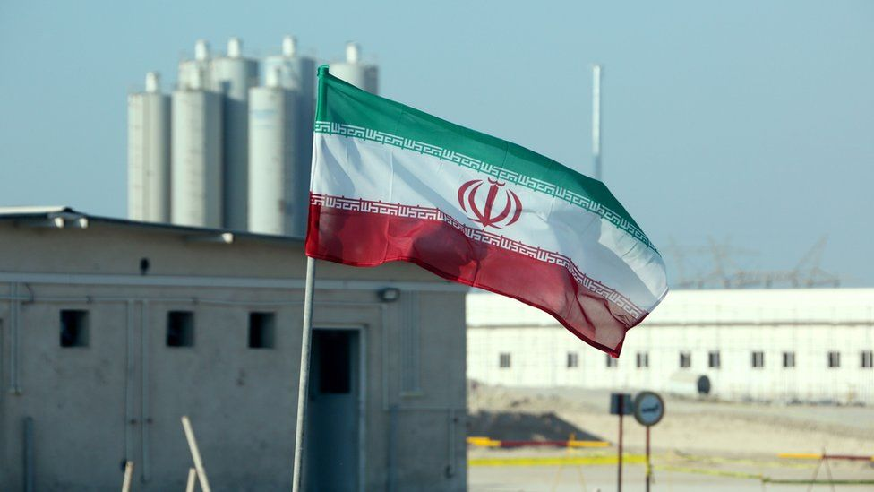 Iranian flag in Iran's Bushehr nuclear power plant on 10 November 2019