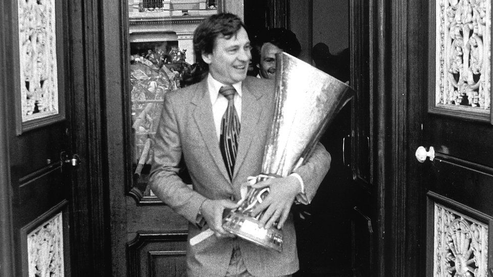 Bobby Robson with the UEFA Cup, 1981
