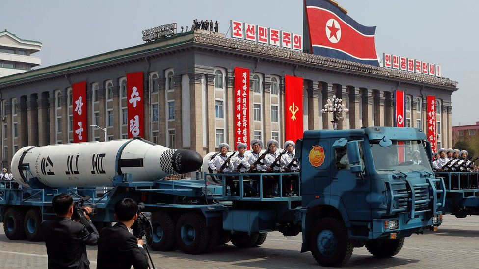 """A North Korean navy truck carries the """"Pukkuksong"""" submarine-launched ballistic missile (SLBM) during a military parade marking the 105th birth anniversary of country's founding father, Kim Il Sung in Pyongyang"""