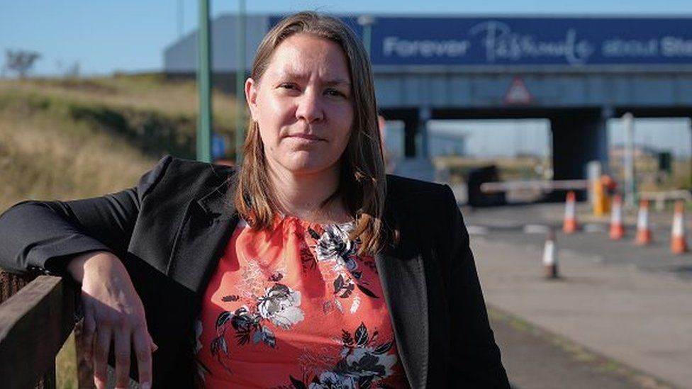 Anna Turley in front of the Redcar steel works