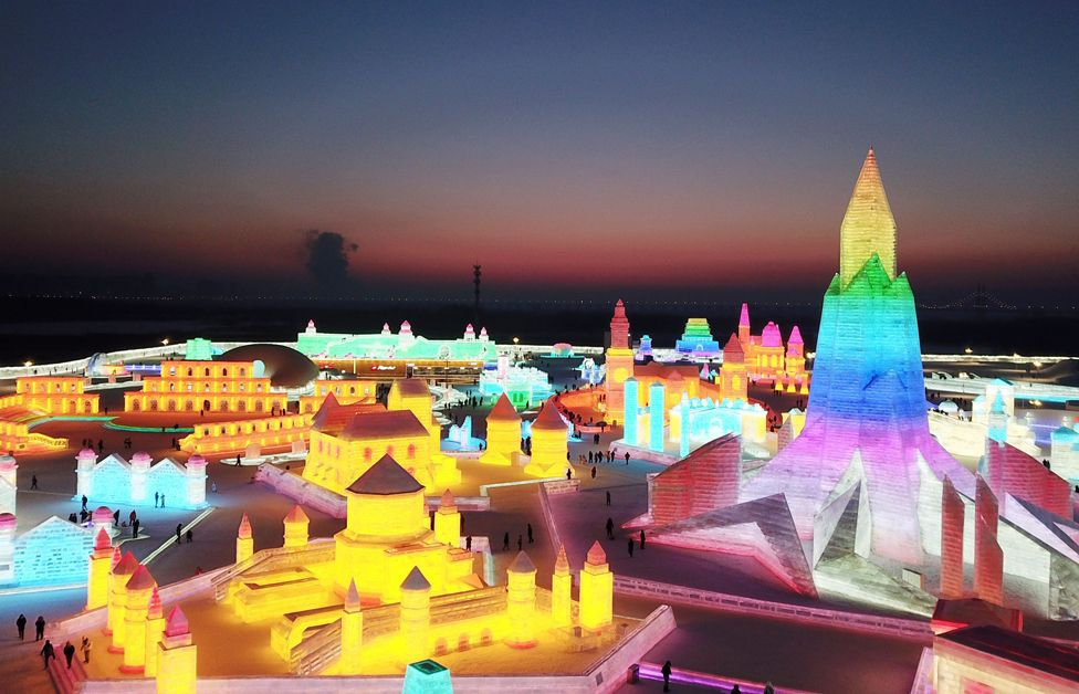 An aerial view of Harbin International Ice and Snow Sculpture Festival seen at night