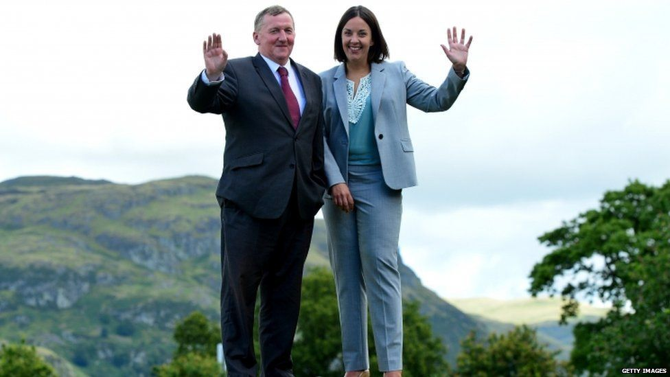 New Scottish Labour leader Kezia Dugdale and deputy leader Alex Rowley after the announcement at the Stirling Court Hotel