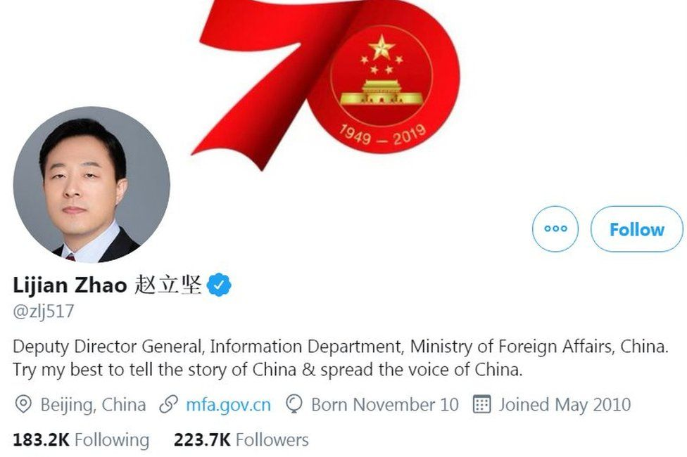Zhao Lijian Twitter profile