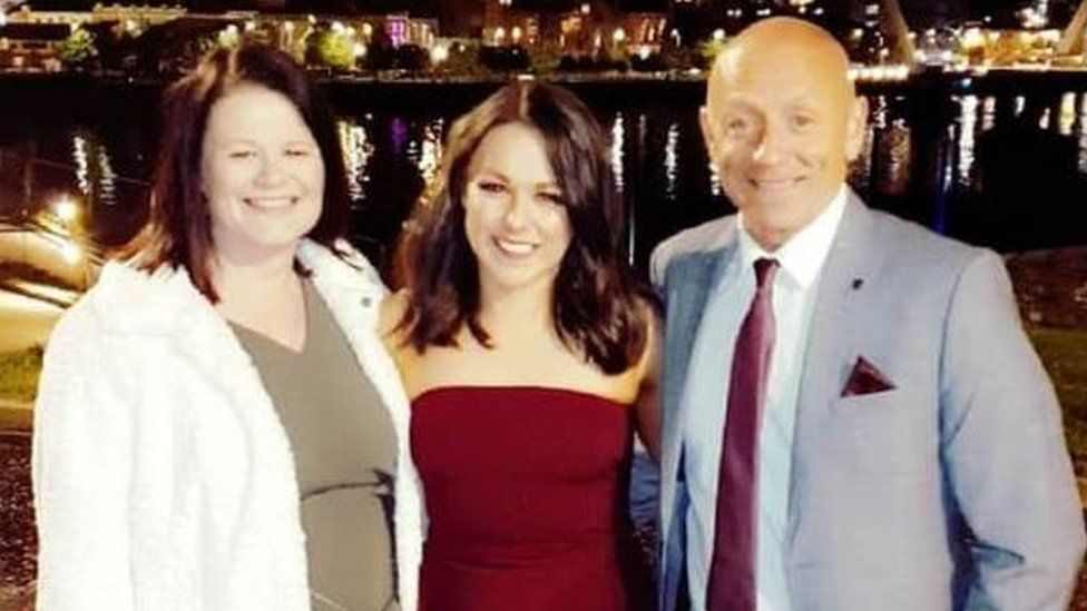 Rachel McHugh with her parents Eleanor and Liam