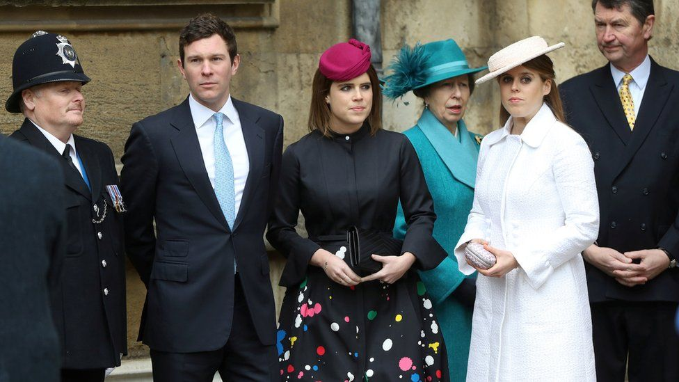 Members of the royal family at St George's Chapel for Easter 2018