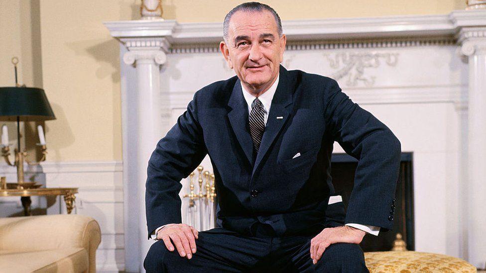 Lyndon B Johnson in the Oval Office
