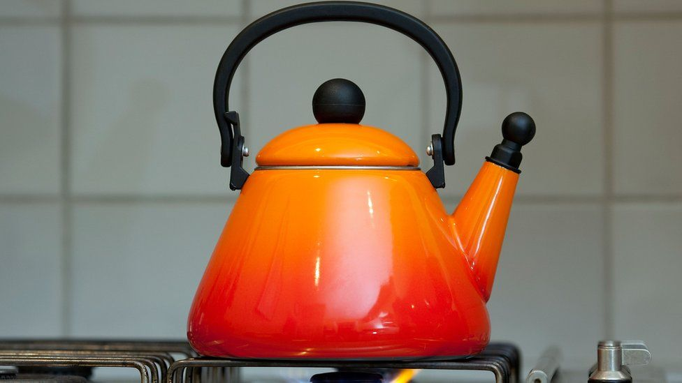 kettle on gas ring
