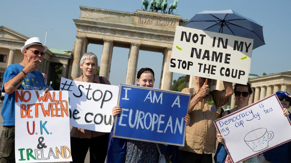 Activists protest against Brexit and the British Parliament suspension in front of Brandenburg Gate in Berlin, Germany