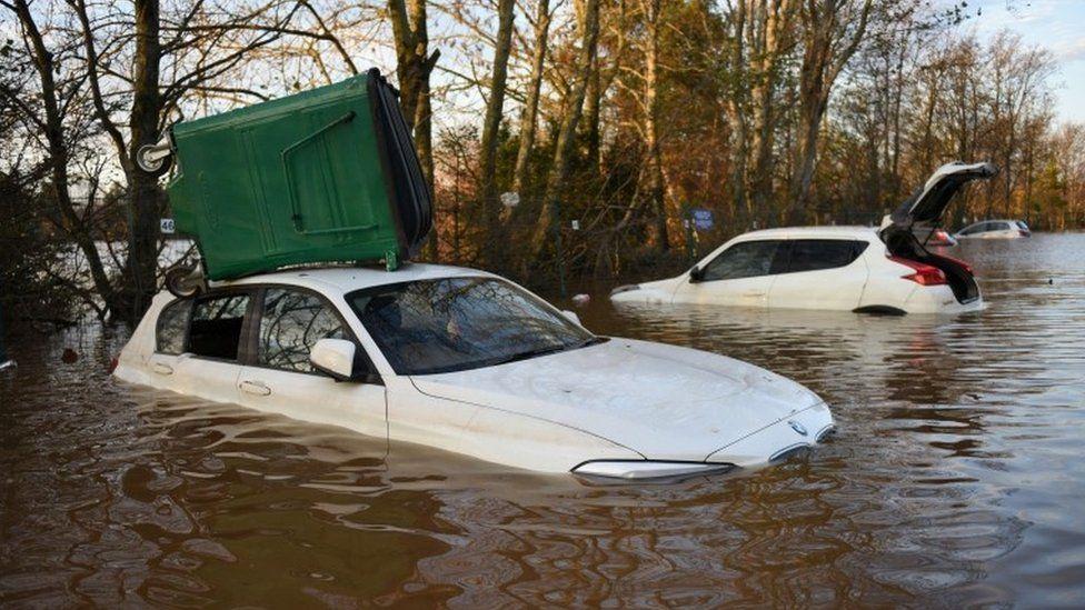Cars in the car park of Carlisle United Football Club