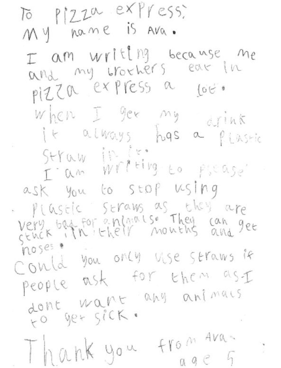 Letter from five-year-old Pizza Express customer
