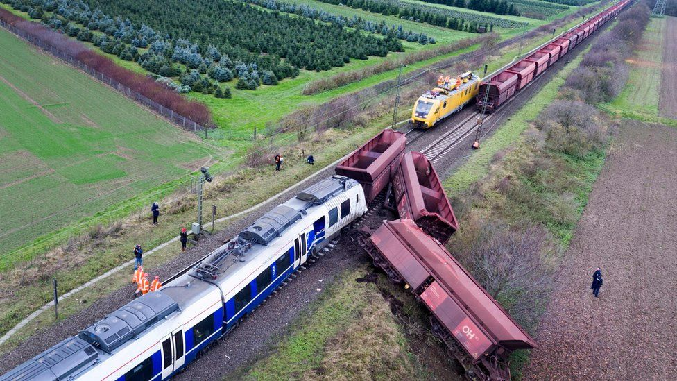 Site of train accident near Meerbusch, western Germany, 6 December
