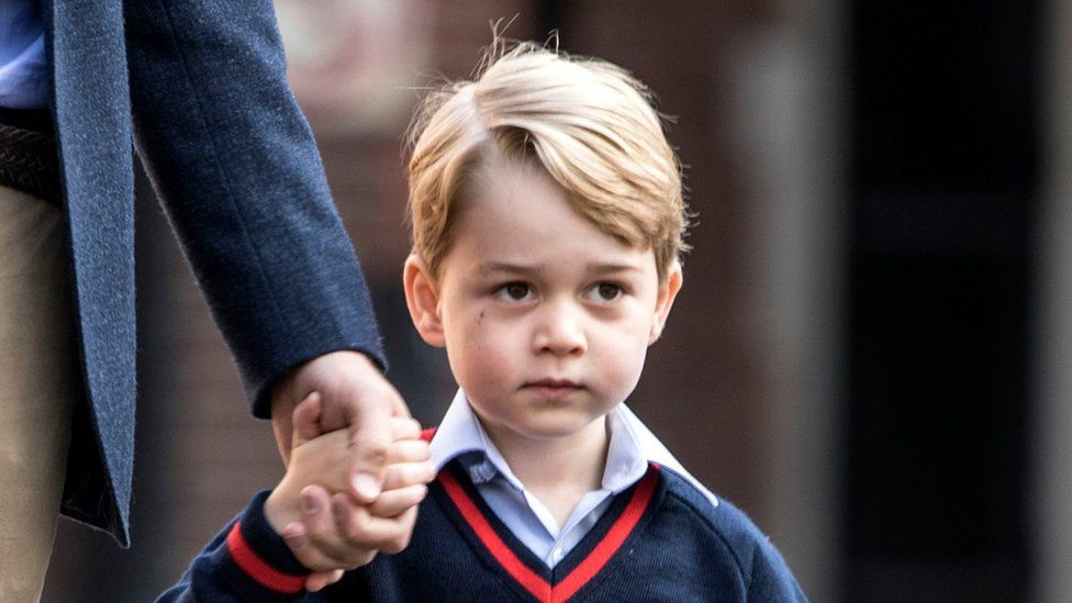 Prince George arriving at school