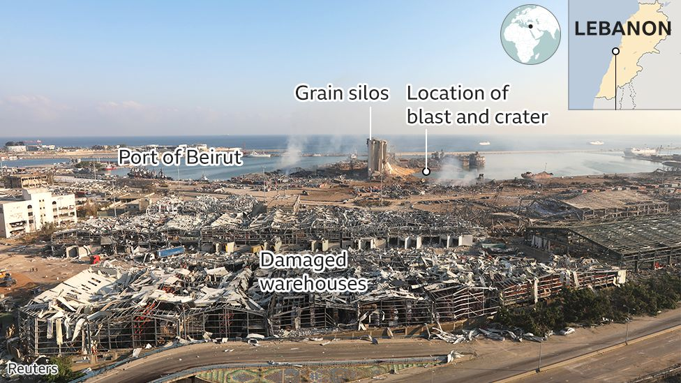 Panorama showing damage to Beirut's port after explosion on 4 August 2020