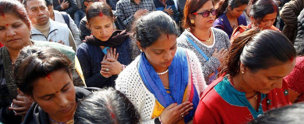 Nepalese Ethnic Madhesi leaders and supporters observe a minute of silence in the memory of people killed in protest while marking 100 days since the beginning of ethnic Madhes protests in Kathmandu, Nepal, 23 November 2015