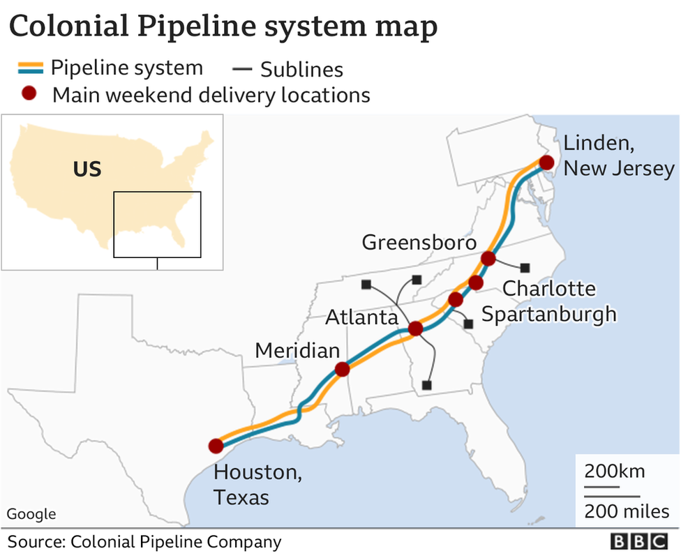 Route of the Colonial Pipeline