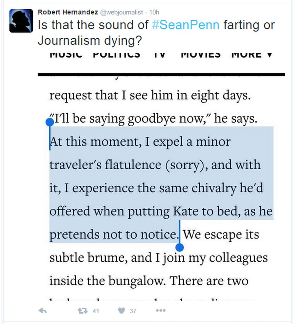 """A tweet reads: """"Is that the sound of #SeanPenn farting or Journalism dying?"""""""