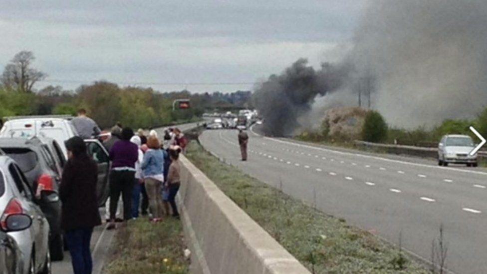 M4 lorry fire