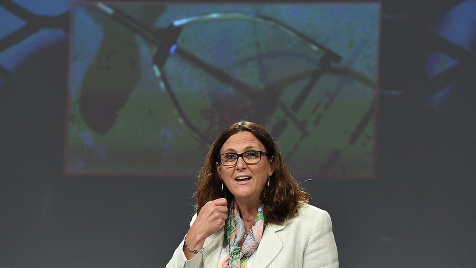 European Commissioner for Trade Cecilia Malmstrom addresses the media on the launch of the Alliance for Torture-Free Trade at the European Commission in Brussels on September 7