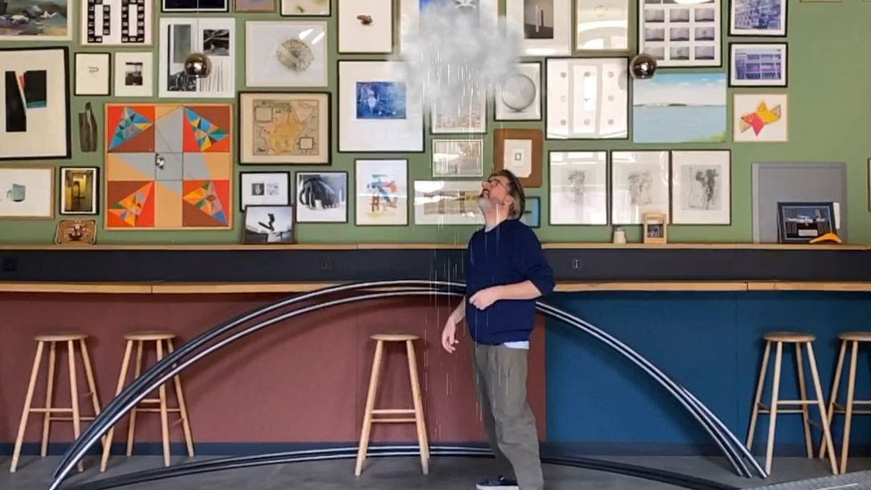 Olafur Eliasson in his studio with his Uncertain Cloud from his AR series Wunderkammer, 2020
