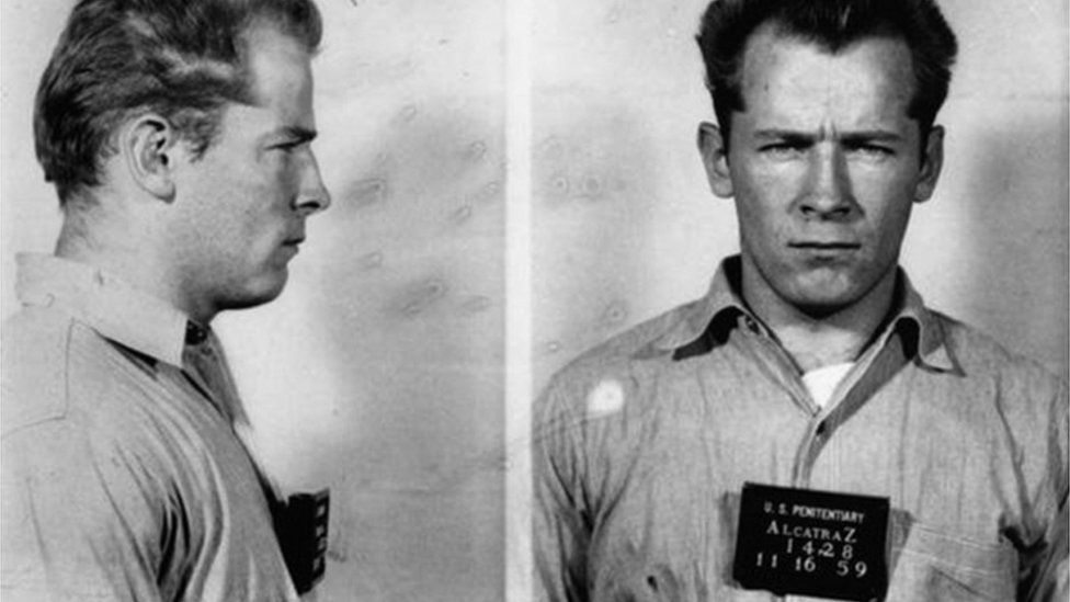 """Boston gangster James """"Whitey"""" Bulger, Jr. poses for a mugshot on his arrival at the Federal Penitentiary at Alcatraz on November 16, 1959"""