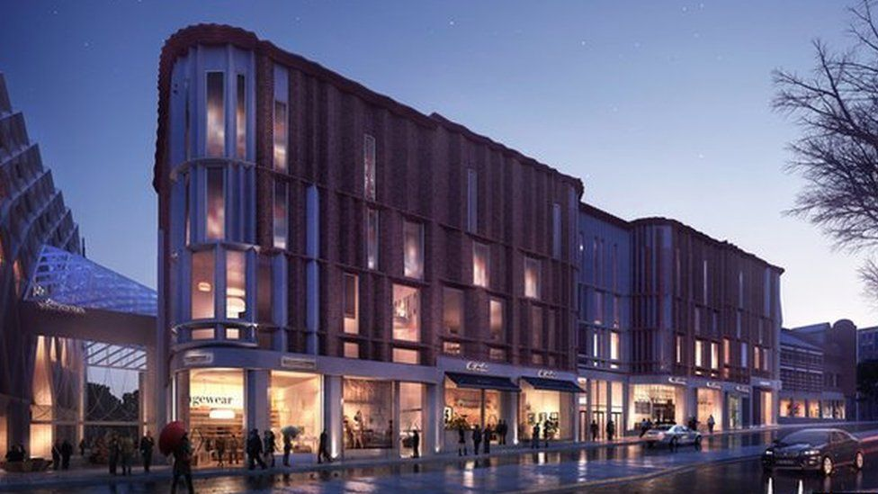 Artist's impression of the outside of the shopping centre