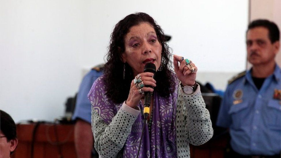 Vice-President Rosario Murillo speaks during first round of dialogue after a series of violent protests against government of President Daniel Ortega in Managua, Nicaragua May 16,2018.