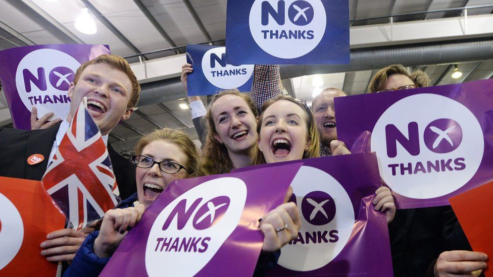No campaign supporters cheer after Scotland voted to stay in the UK