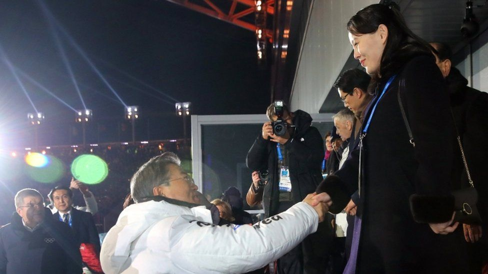"Kim Yo Jong (R, the sister of the North Korean leader) shakes hand with South Korea""s President Moon Jae-in during the opening ceremony of the Pyeongchang 2018 Winter Olympic Games at the Pyeongchang Stadium on February 9, 2018."