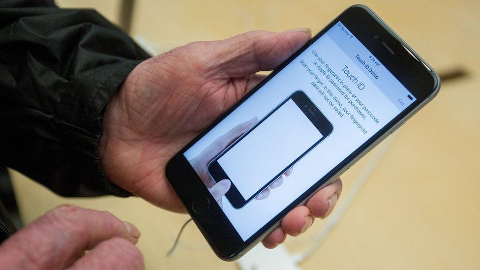Apple iPhone displaying information about Touch ID