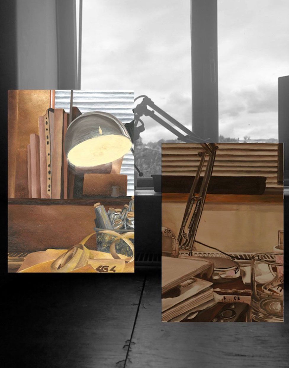 A photo and art montage showing a desk lamp next to a window