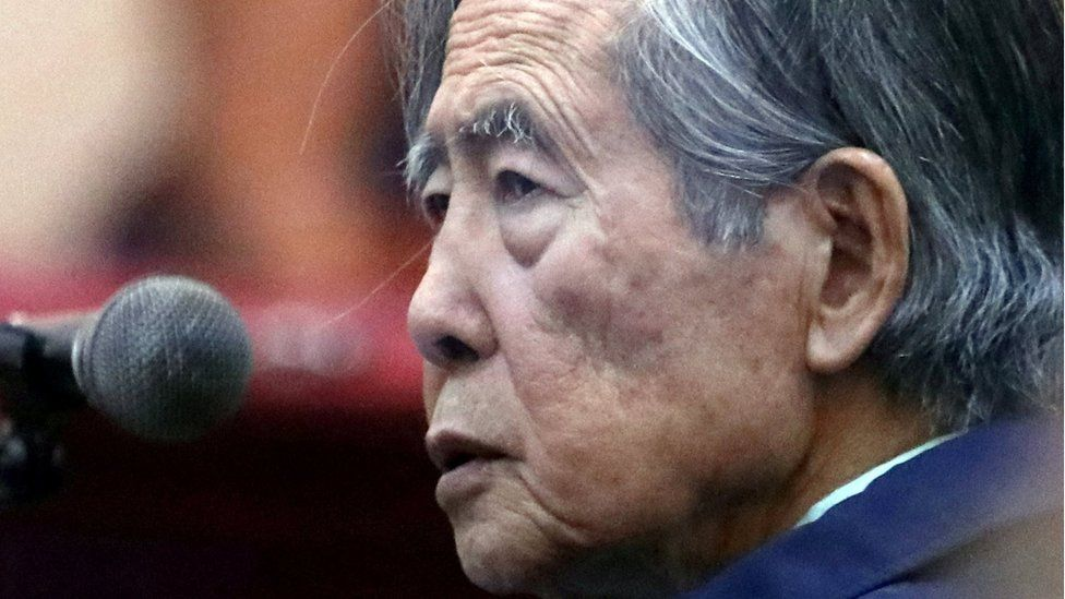 Former President of Peru Alberto Fujimori attends a trial as a witness at the navy base in Callao, Peru March 15, 2018.