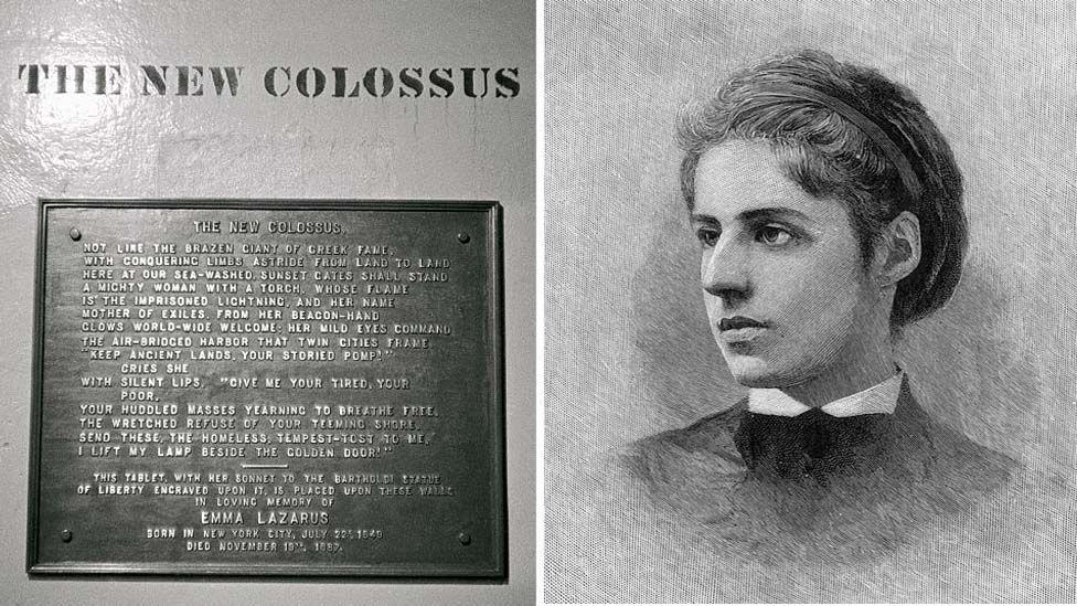 The New Colossus plaque and Emma Lazarus
