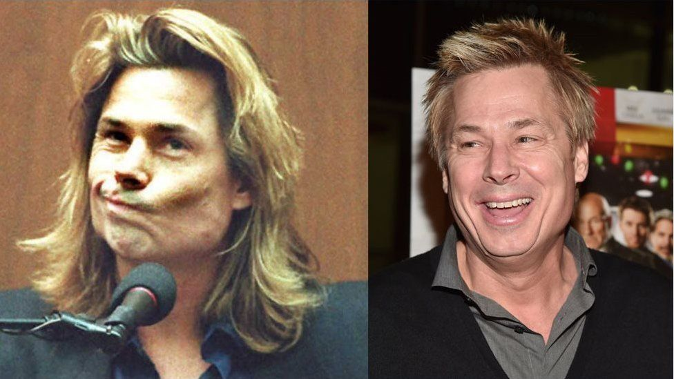 Kato Kaelin pictured at the trial, and in 2015