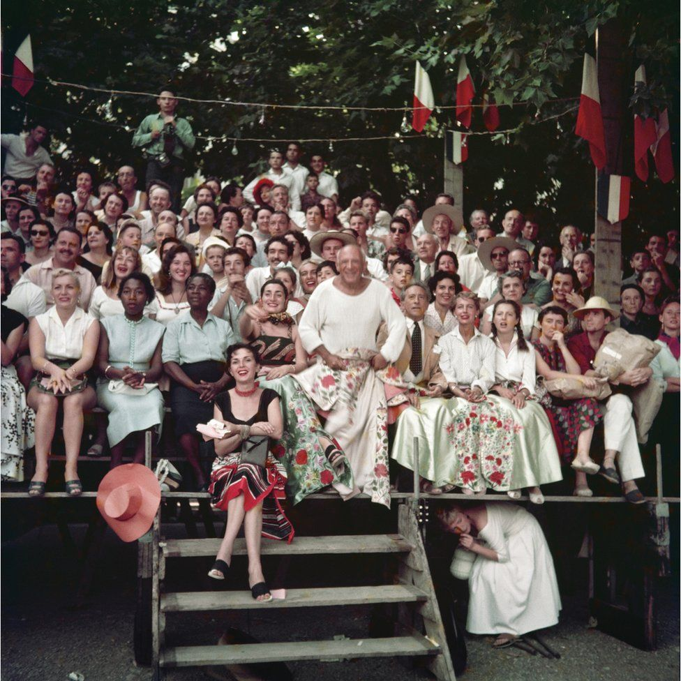 Jacqueline Roque and Picasso, Jean Cocteau, Francine and Carole Weisweiller and sitting in front, Florette, bullfight, Vallauris, 1955