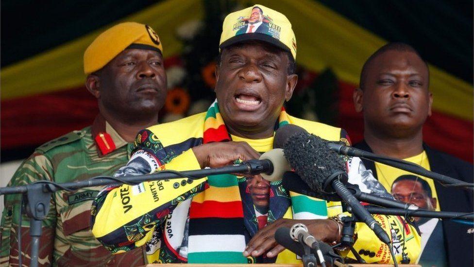 "Emmerson Mnangagwa delivers a speech during a ""Thank You"" rally on November 24, 2018, in Murombedzi, Zvimba, Mashonaland West, Zimbabwe"