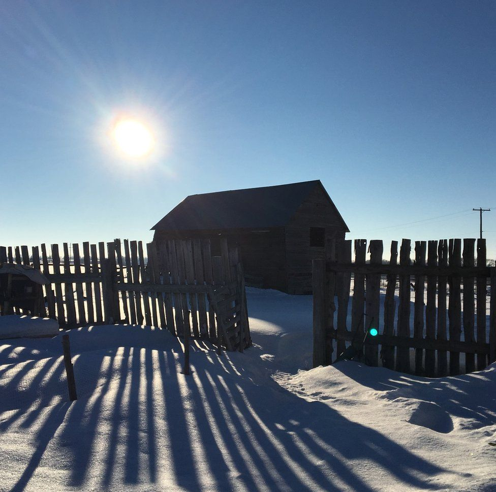 A snow covered hut