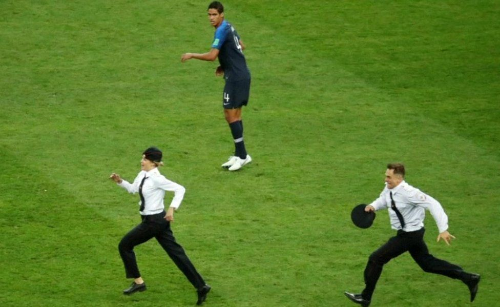 Pitch invasion at World Cup, 15 Jul 18