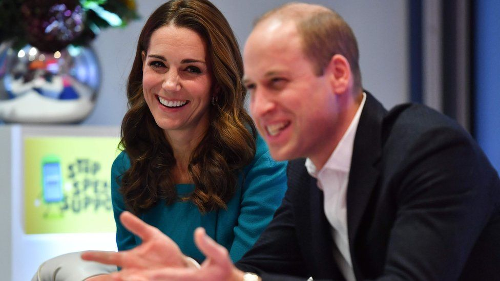 The royals laugh during the visit to BBC
